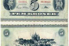 ø - 5 kr. seddelen havde vi fra 1952 til 1961