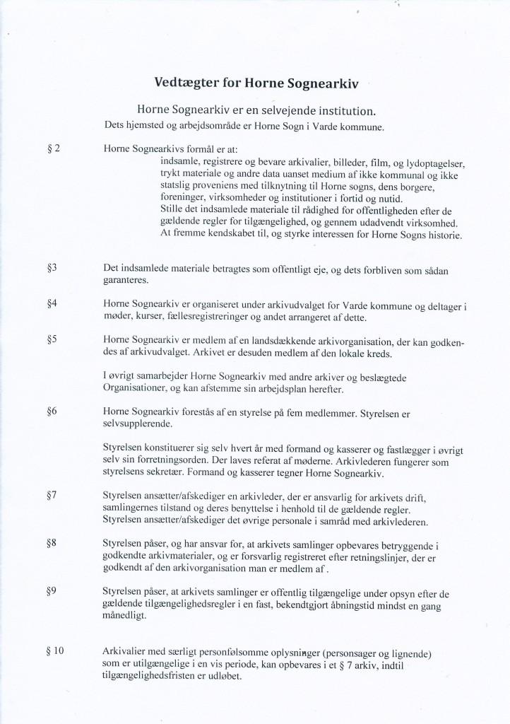 Vedtægter for Horne Sognearkiv  side 1