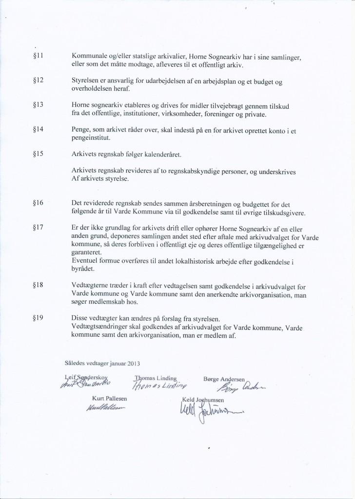 Vedtægter for Horne Sognearkiv side 2